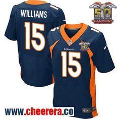 Men's Denver Broncos #15 Kyle Williams Navy Blue 2016 Super Bowl 50th Championship Patch Stitched NFL Nike Elite Jersey