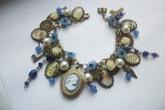 Jane Austen Cameo Locket Antiqued Bronze Tone Pictures Charm Bracelet