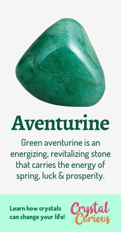 Aventurine Meaning Healing Properties Green aventurine is a variety of quartz with a subtle shimmer It is a stone of luck and pluck helping you make the best of challeng. Crystals Minerals, Crystals And Gemstones, Stones And Crystals, Gem Stones, Crystals For Luck, Green Gemstones, Gemstone Properties, Crystal Healing Stones, Reiki Stones
