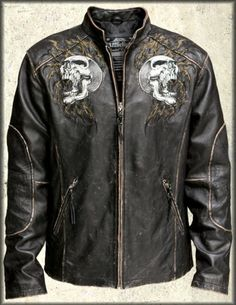 Affliction Shredded Chained Skulls Leather Jacket in Blac...