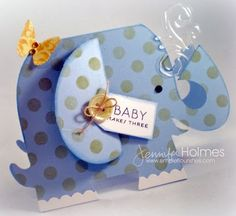 this blue elephant card is too cute...luv the swirls of clear water coming out his trunk...