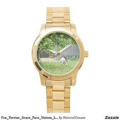 Fox_Terrier_Scare_Face_Unisex_Large_Gold_Watch Watch
