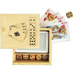 Zestaw gier w drewnianym pudełku