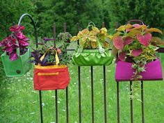 Colorful purses and small tote bags make fun and fashionable plant holders. Lining them with plastic will keep the potting soil from staining the fabrics. Hang the handles from hooks, slip them over fence posts or dangle them from tree branches. Design by Nancy Ondra