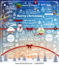Hand Drawn Christmas And New Year Decoration Set Of Calligraphic And Typographic Designs, Labels and Elements. Symbols And Icons Collection for Holiday Greeting Cards, Banners, Posters and Placards - stock vector
