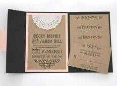 Rustic Wedding Invitation - Pocket Fold Invitation Set with 4 Inserts - Chalkboard Design - Sample Set.