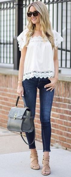45 Trending And Feminine Outfits For You This Summer White Crochet Lace Trimmed Top + Denim Summer Outfits, Summer Dresses, Beach Outfits, Nice Outfits, Summer Clothes, Fiesta Outfit, Black Floral Maxi Dress, Bohemian Blouses, Love Fashion