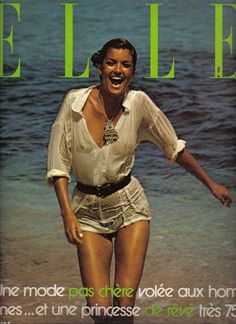 Janice Dickinson, white shirt tucked into shorts, Elle France, early 80s