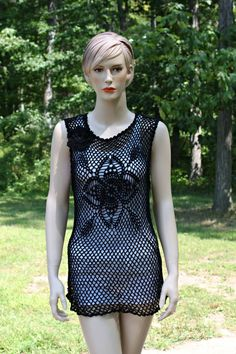 Crochet Lace Black Tunic by CasadeAngelaCrochet on Etsy, $80.00