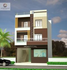 modern elevation design of residential buildings Free House Design, 3 Storey House Design, Duplex House Design, House Front Design, Cool House Designs, Pole Building Plans, Building Design Plan, Building Front, Building Layout