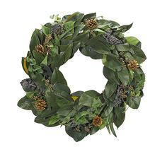 "Magnolia Ecualyptus Wreath 24"" (GWB02): Magnolia Berry Ecualyptus Wreath, 24"""