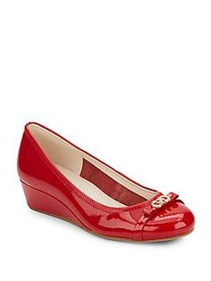Cole Haan Elsie Patent Leather Wedges - Red - Size