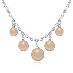 Women Gold Plated Pendant Necklace 5 Pearls Cubic Zirconia Necklace for Women by Aienid -- Details can be found by clicking on the image.
