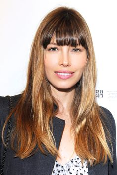 The Best Celebrity Bangs - Jessica Biel from Oval Face Hairstyles, Spring Hairstyles, Vintage Hairstyles, Hairstyles With Bangs, Cool Hairstyles, Long Hair With Bangs, Long Wavy Hair, Long Hair Cuts, Short Hair