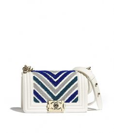 Handbags of the Cruise CHANEL Fashion collection   Small BOY CHANEL Handbag,  embroidered calfskin, lurex   gold-tone metal, blue   white on the CHANEL  ... c72827d5dd