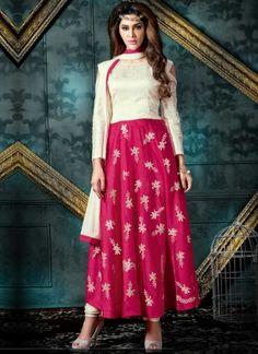 White Magenta Embroidery Work Silk Designer Long Anarkali Gown Suit        #Anarkali #Churidar #Pakistani #Suit #Salwar #Bollywood       http://www.angelnx.com/Salwar-Kameez
