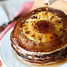 Pineapple Upside Down Banana Pancakes