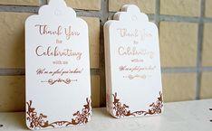 for bridal shower favors, baby shower, wedding favors, rose gold foil writing on white tags Bridal Shower Favors, Wedding Favors, Thank You Tags For Favors, Key Bottle Opener, Rose Gold Foil, Unique Lighting, Foil Stamping, Pillar Candles, Fascinator