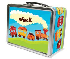 The Starline Train Lunch Box for Kids at Frecklebox Boys Lunch Boxes, Tin Lunch Boxes, Vintage Lunch Boxes, Personalized Stickers, Personalised Box, Kindergarten School Supplies, Sweet Dreams Baby, School Items, Kids Boxing