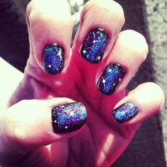 Cosmic galaxy nails by Austin in Visalia, Ca
