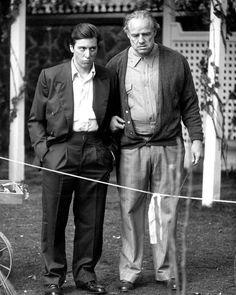 "Al Pacino and Marlon Brando in Francis Ford Coppola's film ""The Godfather""."