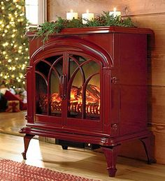 hot holiday gifts - electric stove from Plow & Hearth, actually a portable plug-in heater styled to resemble a woodburning stove. Great idea!