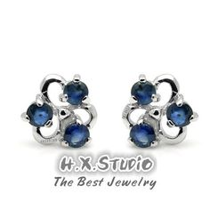 Blue Sapphire (6 round stones) Silver Earrings, 925 Silver Sapphire Ear Studs, Birthdays gift, Wedding present, Wholesale Available