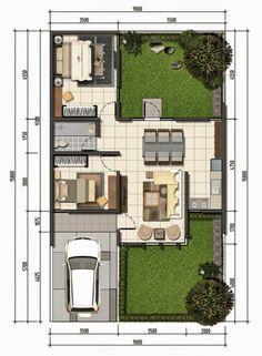 Beluluane Plus 1 Simple House Design, Dream Home Design, Home Design Plans, Model House Plan, Small House Plans, House Floor Plans, Small House Layout, House Layouts, Villa Plan