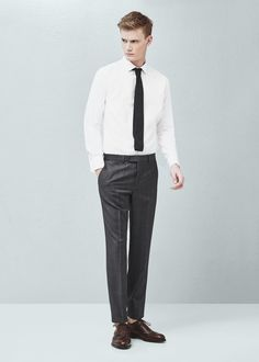 Slim-fit tailored dot-patterned shirt | MANGO MAN