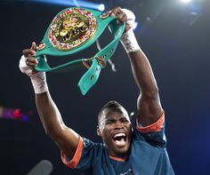 Adonis Stevenson from Canada celebrates after knocking Chad Dawson from the United States out in the first round of their WBC light-heavyweight championship bout in Montreal, Saturday, June 8, 2013. (AP Photo/The Canadian Press, Graham Hughes)