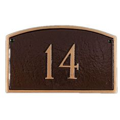 Montague Metal Products Petite Prestige Arch Address Plaque Finish: Sea Blue / Silver, Mounting: Lawn