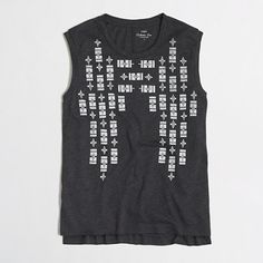 J.Crew Factory - Factory stitchframe collector tank top -- I love this dark charcoal gray. The tribal print's kind of fun too.