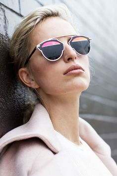 "Karolina Kurkova wears the new Diro ""So Real"" :) (found on: vogue.es) #Dior #sunglasses #Kurkova"