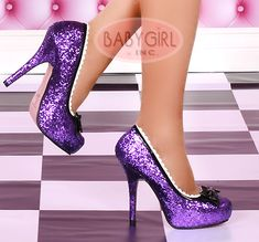 Purple Platform Glitter Princess Pumps :) too bad my fiancé would need heels too if I wore these...