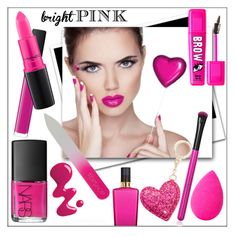 """""""HOT PINK BEAUTY!"""" by whirlypath ❤ liked on Polyvore featuring beauty, Victoria's Secret, NARS Cosmetics, MAC Cosmetics, Kate Spade and beautyblender"""