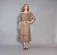 70s Bohemian Gauze PEASANT DRESS / 1970s Mocha Brown Floral Off Shoulder Midi #70sfashion #bohemian #gauzedress