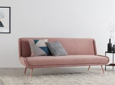 Moby Sofa Bed, Vintage Pink Velvet with Copper Leg Sofa Design, Canapé Design, Bed Bench, Chair Bed, Sofa Beds, Small Sofa, Large Sofa, Sofa Bed Vintage, Pink Sofa Bed
