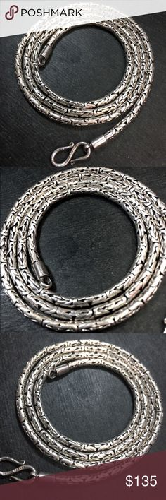"Silver Thai Design Round Baht Men Chain Necklace New Solid 925 Sterling Silver Thai Design Round Baht Men Chain Necklace  • Style :  • Thai design Baht Link Chain  • Metal Type :  • Solid .925 Sterling Silver  • Approx. Length :  • 24"" Inches  • Approx. Width :  • 0.12"" inches ( 3.0 mm )  • Approx. Thickest :  • 0.12"" inches ( 3.0 mm )  • Approx. Weight :  • 32 grams to 33 grams  • Region Imported From:  • Italy  • Clasp :  • S Clasp  Item # : • JN10281708-shop-1008-NC Accessories Jewelry"