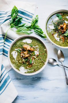 Creamy Vegan Nettles Soup with Cauliflower and Kale | recipe via willfrolicforfood.com