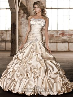 Stunning Fit and Flare Beading Sweetheart Pleated Wedding Dresses - LightIndreaming