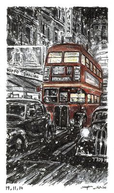 Stephen Wiltshire - RT London bus on a winters night - 2014