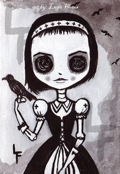 Crow Girl 5x7 art print Day of the Dead by ArtByLupeFlores on Etsy, $6.99