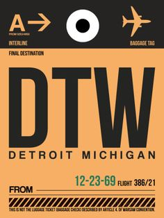 DTW Detroit Luggage Tag 1 Plastic Sign by NaxArt at AllPosters.com
