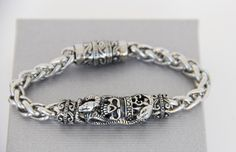 bracelet homme skull , S.Kay style  acier et métal , luxueux
