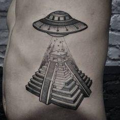Tattoo Ufo Over Pyramid - http://tattootodesign.com/tattoo-ufo-over-pyramid/ | #Tattoo, #Tattooed, #Tattoos