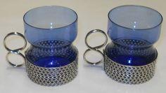 Iittala Timo Sarpaneva Vintage Tsaikka 1957 Blue Glasses Metal Clips Finland