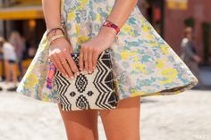 stylish clutch handbags & purses aztec black and white beaded clutch