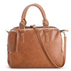 Cognac compartment satchel bag
