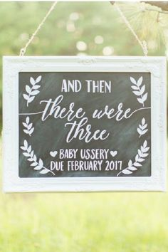 You could also have a beautiful photo taken of you and the babys father with this And Then There Were Three sign. It makes such a gorgeous pregnancy announcement that Im sure youll love to share. See more party ideas and share yours at CatchMyparty.com #catchmyparty #partyideas #pregnant #pregnancyannouncements #digitalpregnancyannouncements