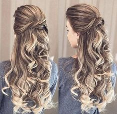 Pin by naomi de on grade dance in 2019 hair styles, bridal hair inspira Prom Hairstyles For Long Hair, Elegant Hairstyles, Down Hairstyles, Braided Hairstyles, Gorgeous Hairstyles, Simply Hairstyles, Wedding Hairstyle, Hair Wedding, Curly Hair Styles